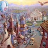Whimsical City Custom Painting