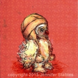 Little Owl :Coral Background