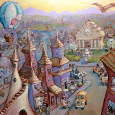 Whimsical City Scene