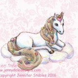Ice Cream Unicorn Sitting (Pink Floral Background)