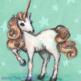 Pretty Standing Unicorn (Mint and Star background)