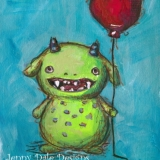 Grinning Green Monster with Balloon