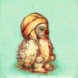 Little Owl: Aqua Background