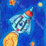 Blast Off Rocket and Stars