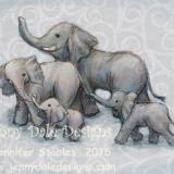 Elephant Family of four- Grey Background