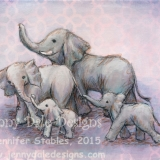 Elephant family of Four- Pink Background