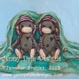 Sock Monkey Twins- Blanket