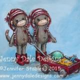 Sock Monkey Twins- Wagon