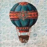 Vintage Hot Air Balloon- Blue